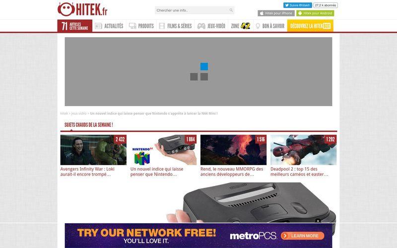 Hitek : Un nouvel indice qui laisse penser que Nintendo s'apprête à lancer la N64 Mini !