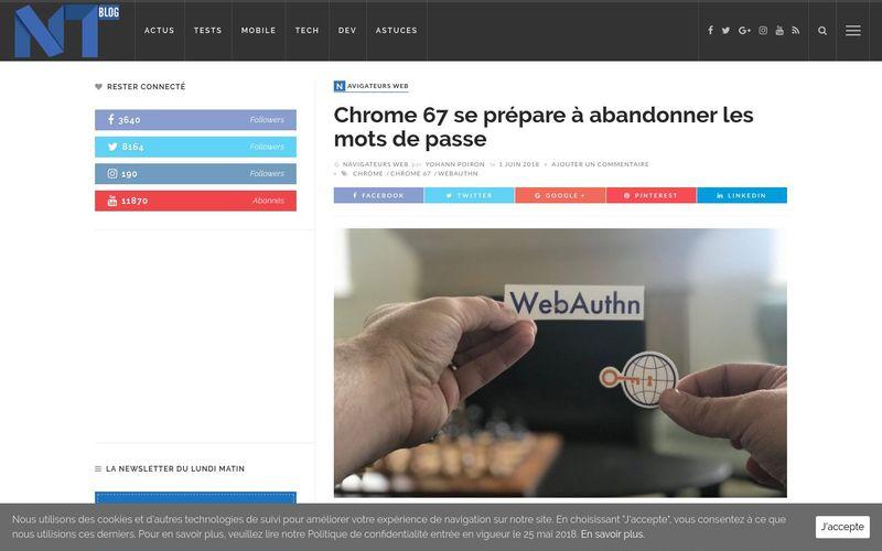 Blog Nouvelles Technologies : Chrome 67 se prépare à abandonner les mots de passe